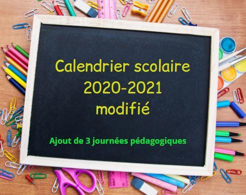 Modification du calendrier scolaire 2020-2021 : Ajout de 3 journées pédagogiques