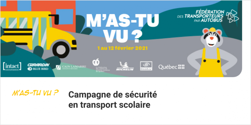 Campagne annuelle du transport scolaire 2021 : M'as-tu vu ?
